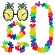 Shappy Pineapple Sunglasses Accessory and 4 Piece Hawaiian Leis Garland Flower Necklace Bracelets Headband Party Fancy Dress Set