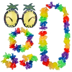 Shappy Pineapple Sunglasses Accessory and 4 Piece Hawaiian Leis Garland Flower Necklace Bracelets Headband Party Fancy Dress Set
