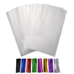 Shappy 200 Pieces Clear Treat Bags 4 by 9 Inches with 8 Mixed Colors Twist Ties 4 Inches for Wedding Cookie Favor Valentine Gifts
