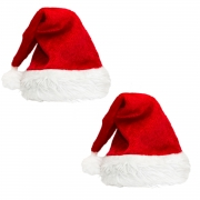 Shappy 2 Pack Plush Christmas Hat Santa Hats Costume for Christmas Party (44 x 30cm/ 17.3 x 11.8Inch)